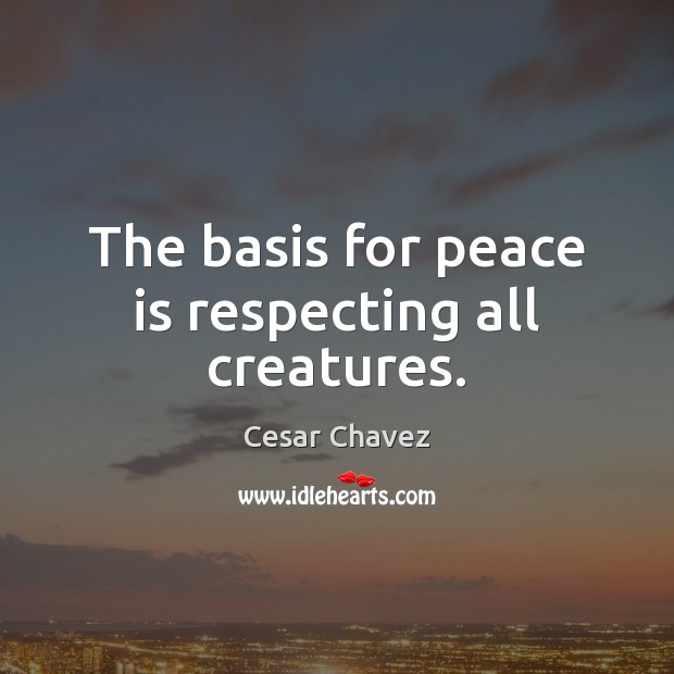 The basis for peace is respecting all creatures. Peace Quotes Image