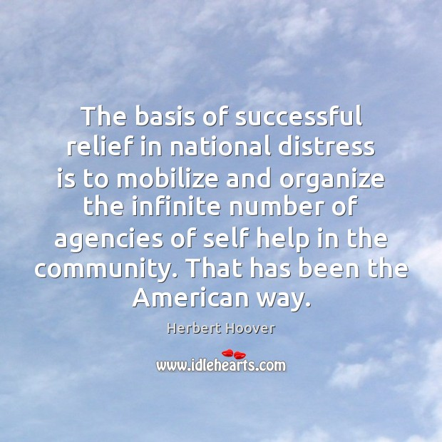 Image, The basis of successful relief in national distress is to mobilize and
