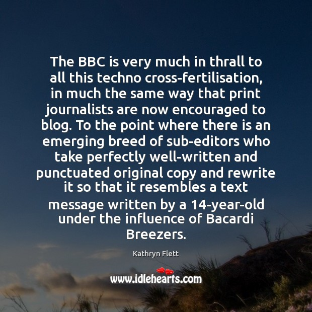 Image, The BBC is very much in thrall to all this techno cross-fertilisation,