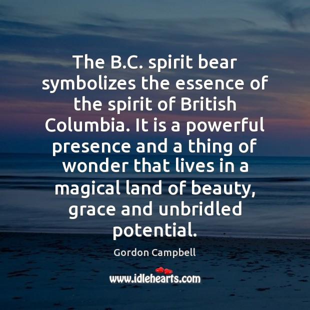 The B.C. spirit bear symbolizes the essence of the spirit of Image