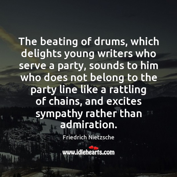 Image, The beating of drums, which delights young writers who serve a party,