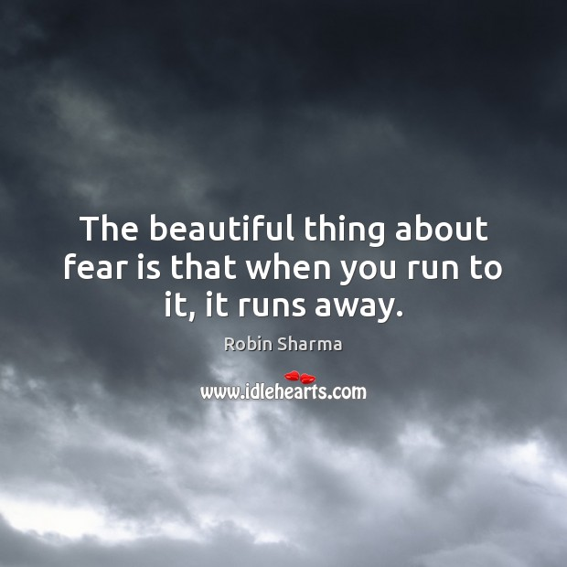 Image, The beautiful thing about fear is that when you run to it, it runs away.