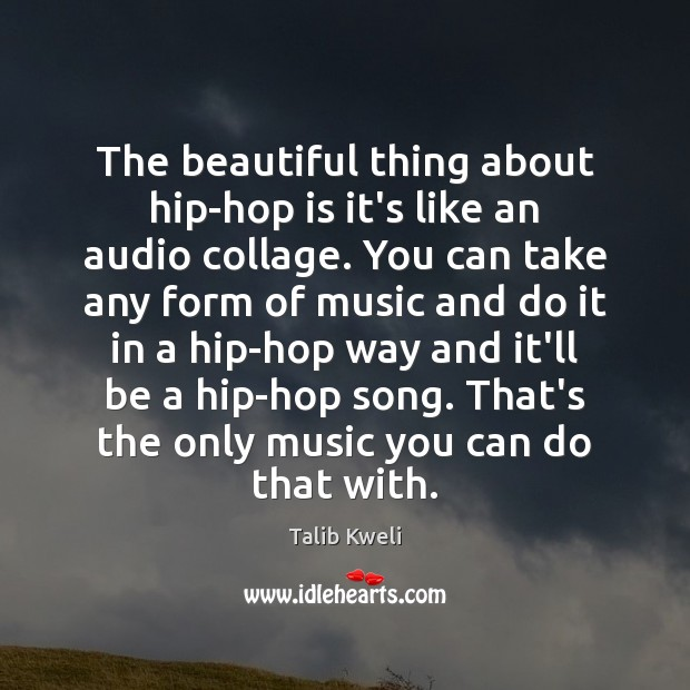 The beautiful thing about hip-hop is it's like an audio collage. You Image