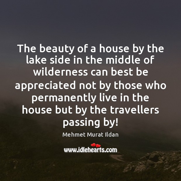 Image, The beauty of a house by the lake side in the middle