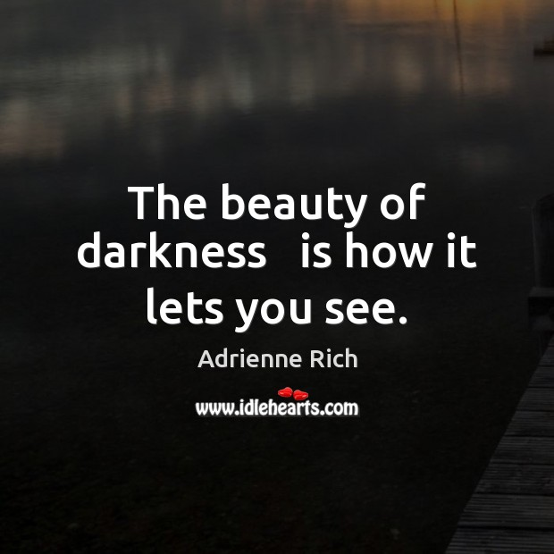 The beauty of darkness   is how it lets you see. Adrienne Rich Picture Quote