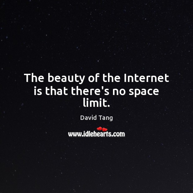 The beauty of the Internet is that there's no space limit. Internet Quotes Image