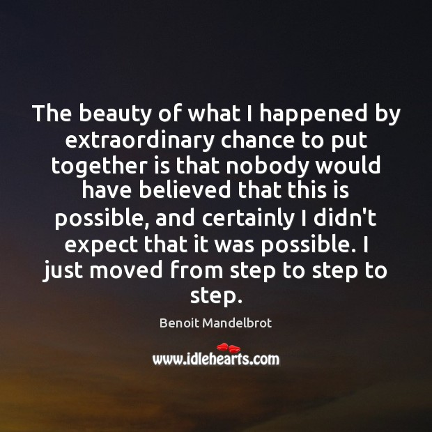 The beauty of what I happened by extraordinary chance to put together Benoit Mandelbrot Picture Quote