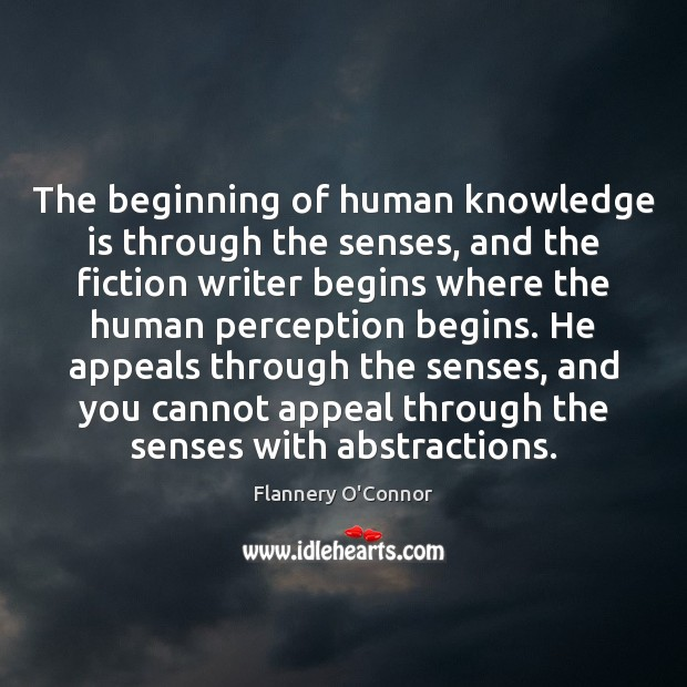 Image, The beginning of human knowledge is through the senses, and the fiction