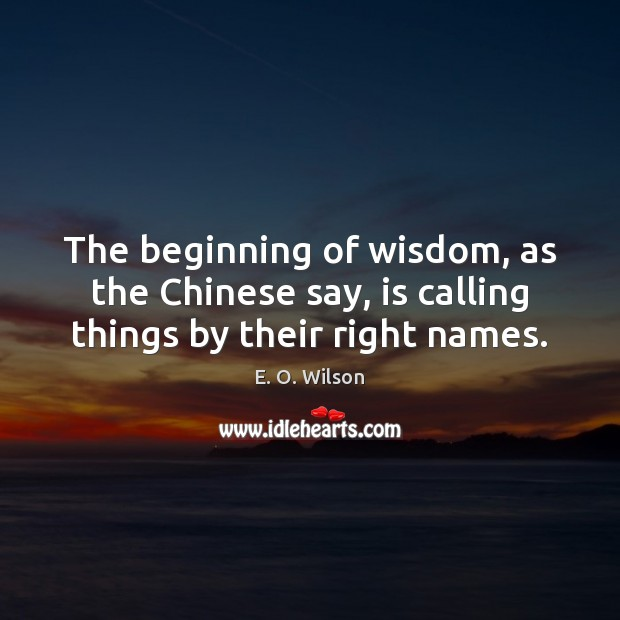 The beginning of wisdom, as the Chinese say, is calling things by their right names. E. O. Wilson Picture Quote