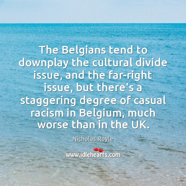 The Belgians tend to downplay the cultural divide issue, and the far-right Image