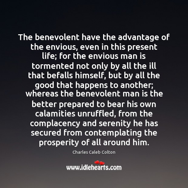 Image, The benevolent have the advantage of the envious, even in this present