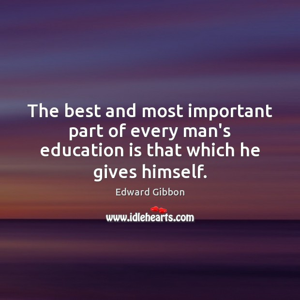 The best and most important part of every man's education is that which he gives himself. Education Quotes Image