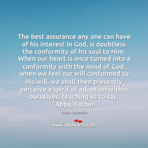Image, The best assurance any one can have of his interest in God,