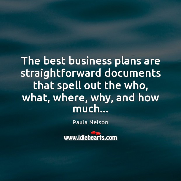 The best business plans are straightforward documents that spell out the who, Image