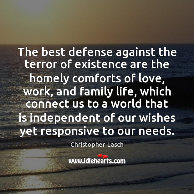 The best defense against the terror of existence are the homely comforts Christopher Lasch Picture Quote
