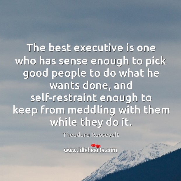 Image, The best executive is one who has sense enough to pick good people to do what he wants done