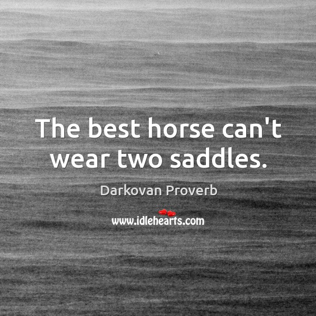 The best horse can't wear two saddles. Darkovan Proverbs Image