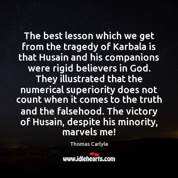The best lesson which we get from the tragedy of Karbala is Image
