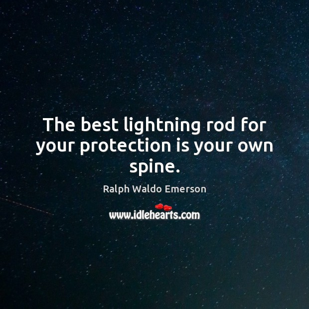The best lightning rod for your protection is your own spine. Image