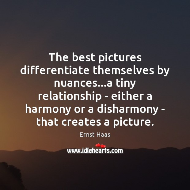 The best pictures differentiate themselves by nuances…a tiny relationship – either Ernst Haas Picture Quote