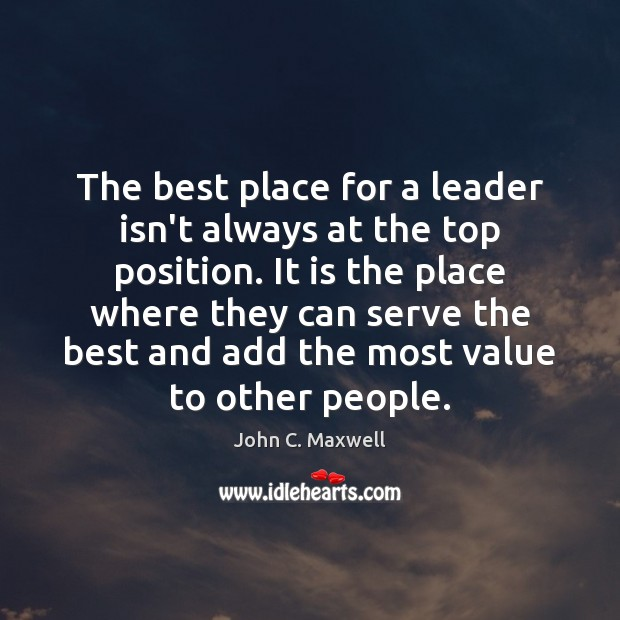 The best place for a leader isn't always at the top position. Image