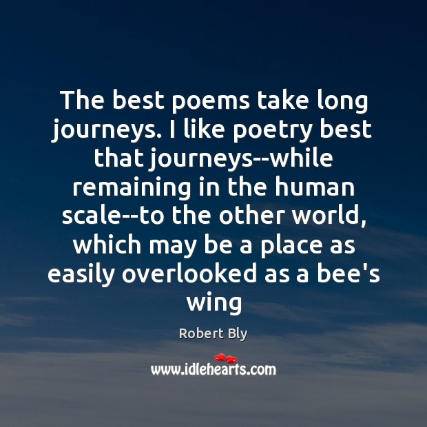 Image, The best poems take long journeys. I like poetry best that journeys–while