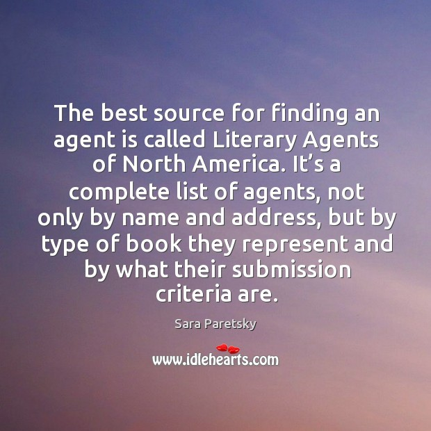 The best source for finding an agent is called literary agents of north america. Image