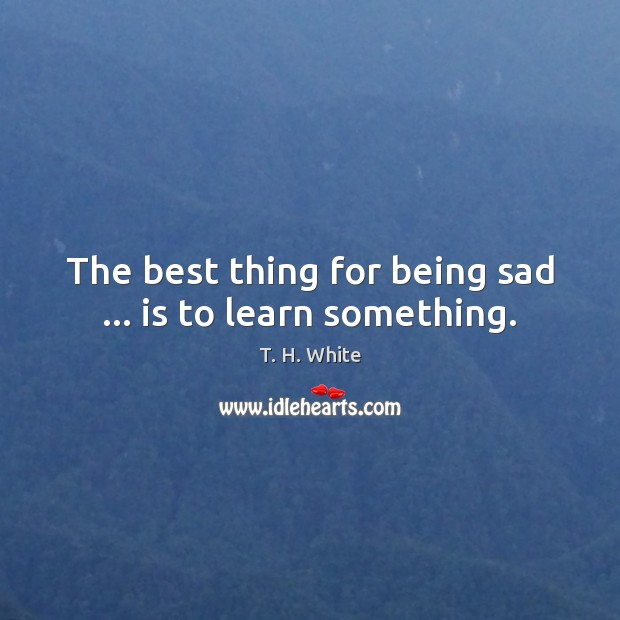 Image, The best thing for being sad … is to learn something.