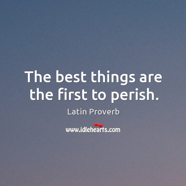 Image, The best things are the first to perish.