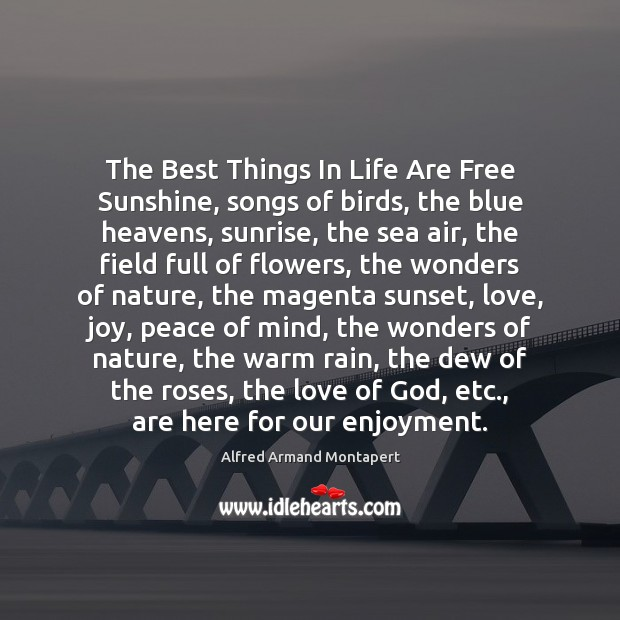 The Best Things In Life Are Free Sunshine, songs of birds, the Image
