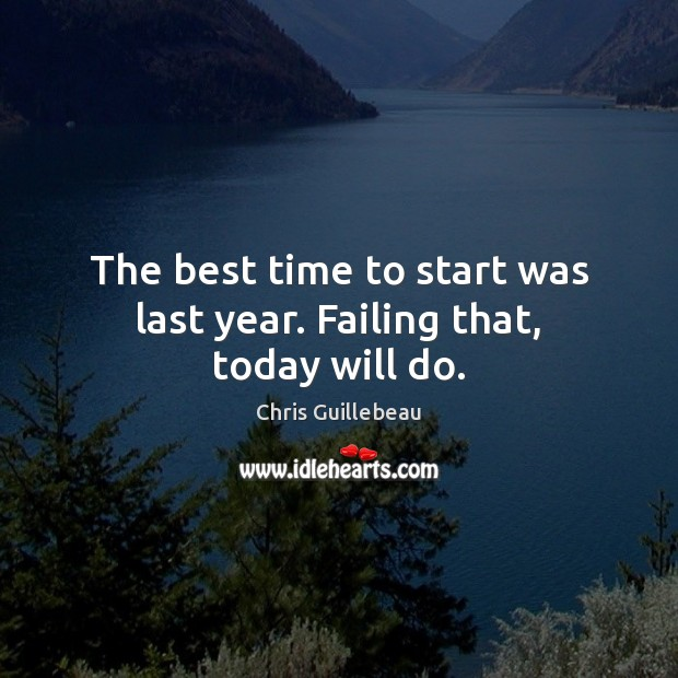 Image, The best time to start was last year. Failing that, today will do.