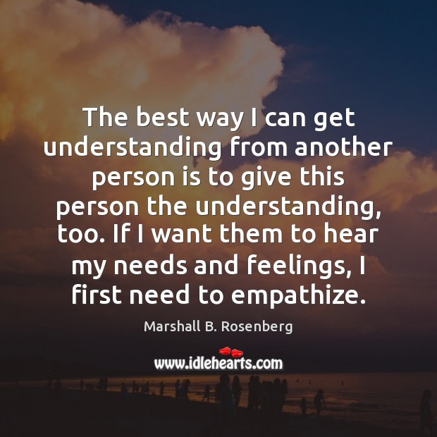 The best way I can get understanding from another person is to Marshall B. Rosenberg Picture Quote