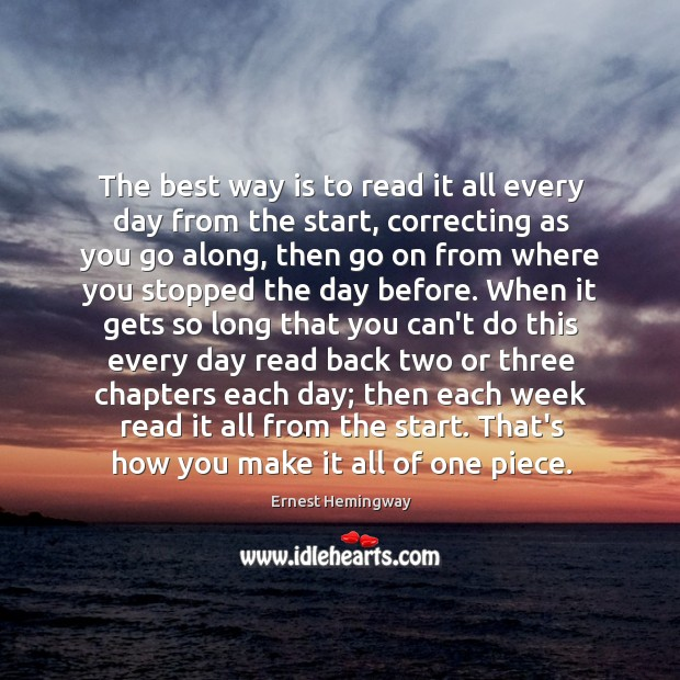 Image, The best way is to read it all every day from the