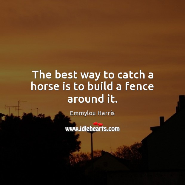The best way to catch a horse is to build a fence around it. Image