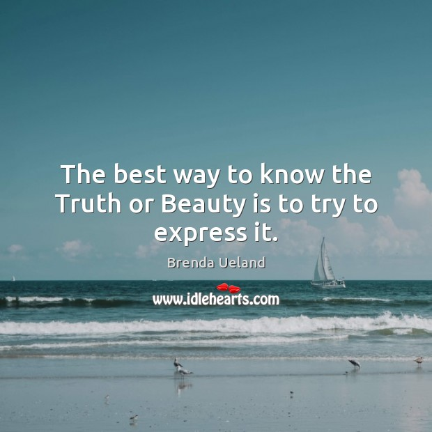 Image, The best way to know the Truth or Beauty is to try to express it.