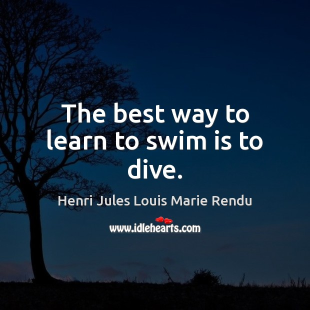 The best way to learn to swim is to dive. Image
