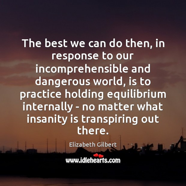 The best we can do then, in response to our incomprehensible and Elizabeth Gilbert Picture Quote