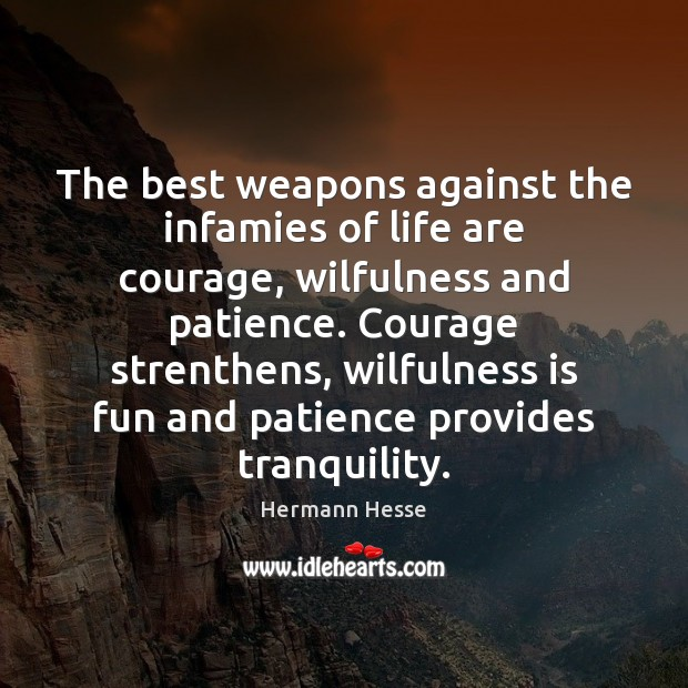 The best weapons against the infamies of life are courage, wilfulness and Hermann Hesse Picture Quote
