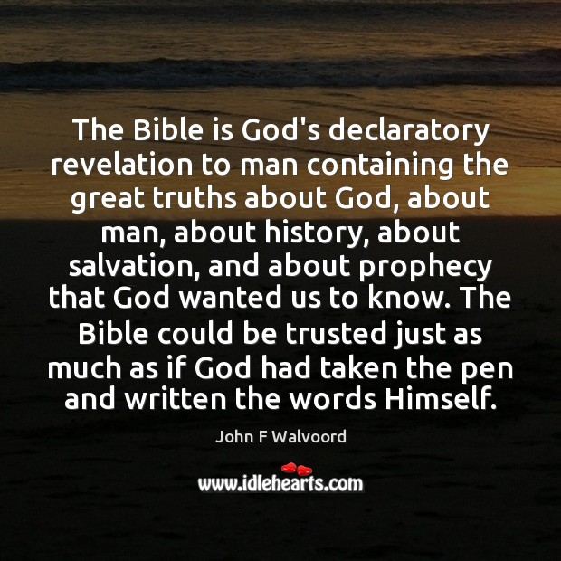 Image, The Bible is God's declaratory revelation to man containing the great truths