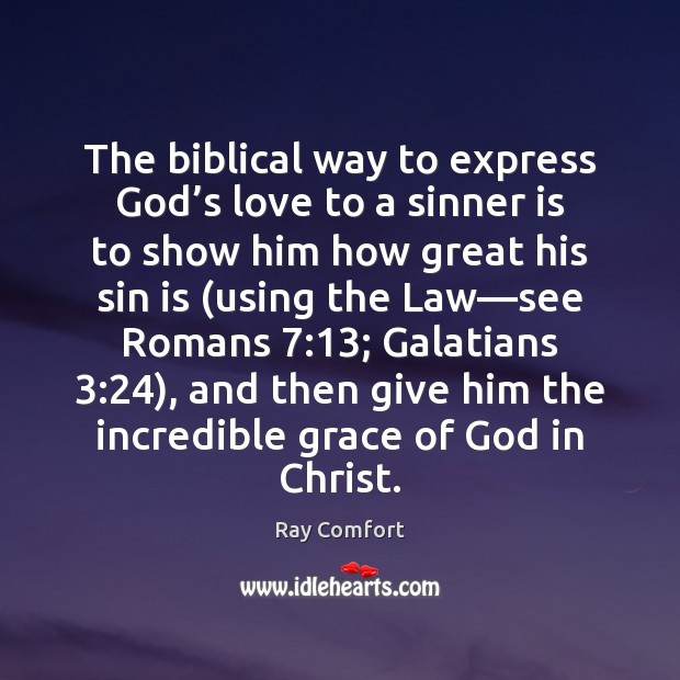 The biblical way to express God's love to a sinner is Ray Comfort Picture Quote