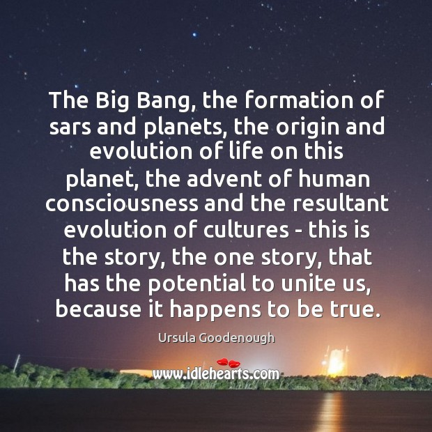 The Big Bang, the formation of sars and planets, the origin and Image