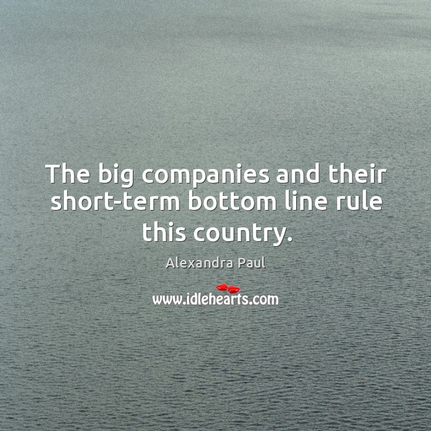 The big companies and their short-term bottom line rule this country. Image