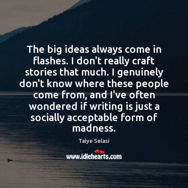The big ideas always come in flashes. I don't really craft stories Taiye Selasi Picture Quote