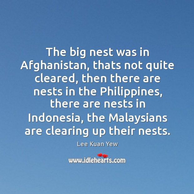 The big nest was in afghanistan, thats not quite cleared Image