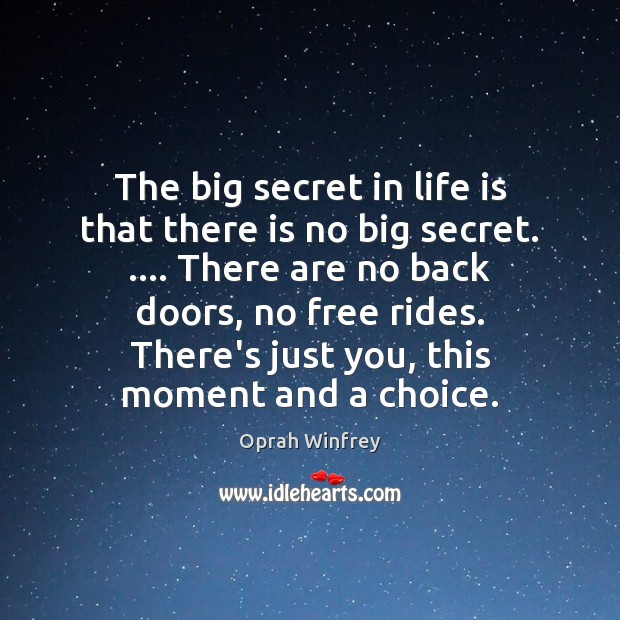 Image, The big secret in life is that there is no big secret. ….
