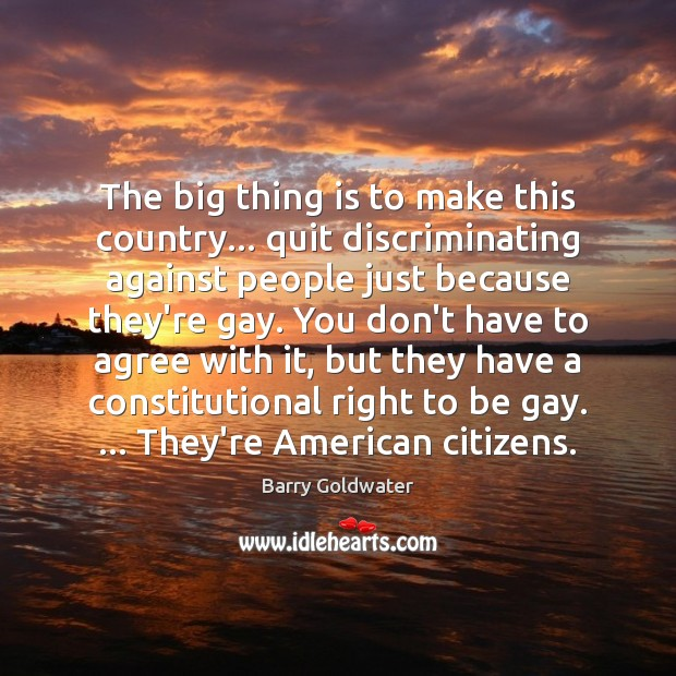 Image, The big thing is to make this country… quit discriminating against people
