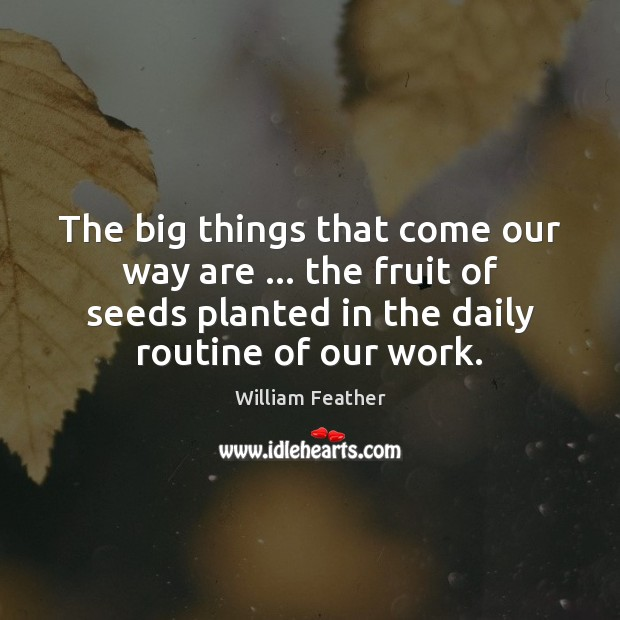 The big things that come our way are … the fruit of seeds William Feather Picture Quote