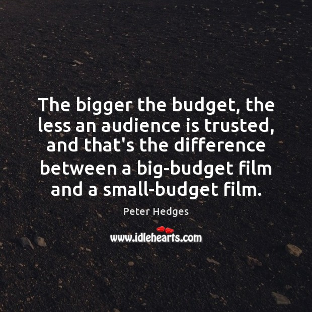 The bigger the budget, the less an audience is trusted, and that's Image