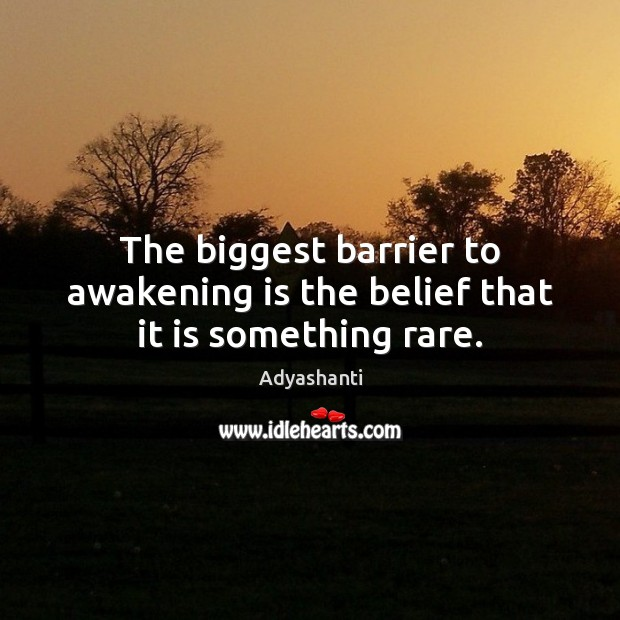 Image, The biggest barrier to awakening is the belief that it is something rare.