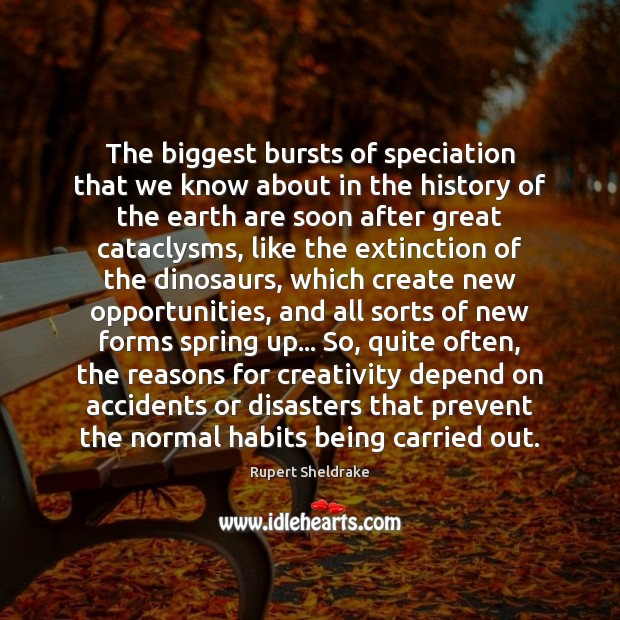 The biggest bursts of speciation that we know about in the history Rupert Sheldrake Picture Quote